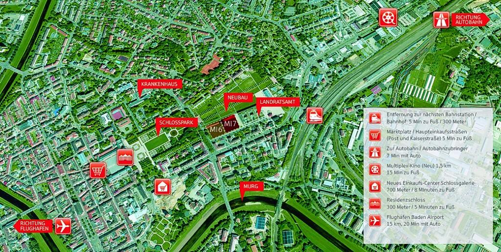 Luftaufnahme Wohnen am Schlosspark Rastatt