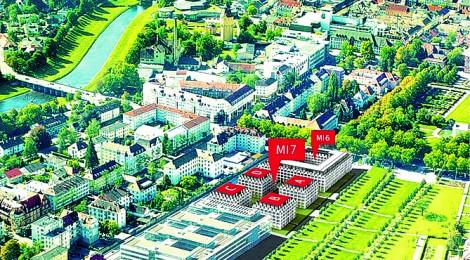 Luftbild Wohnen am Schlosspark Rastatt