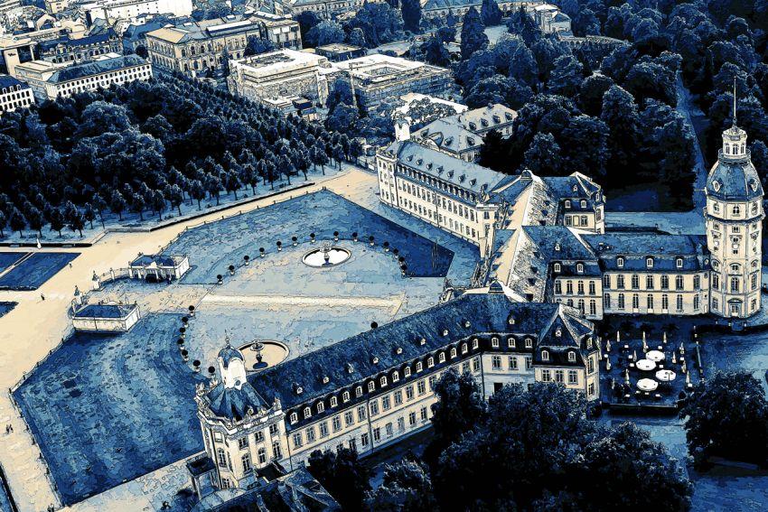 Schloss Karlsruhe Luftbildaufnahme / Vogelperpektive